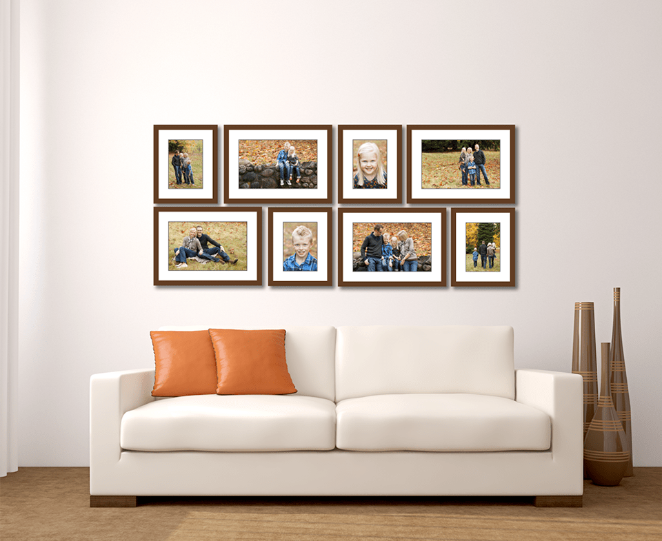 Large living room wall gallery jenn di spirito photography for Family room picture wall