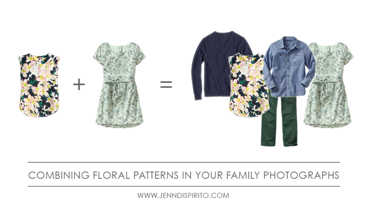 what to wear in your family photographs incorporating floral patterns in your family photos