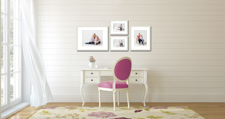 a sample wall gallery of family photographs used to strengthen the parent-child bond