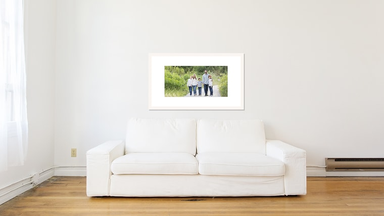 how big should I frame my family photographs? wall gallery sample 1