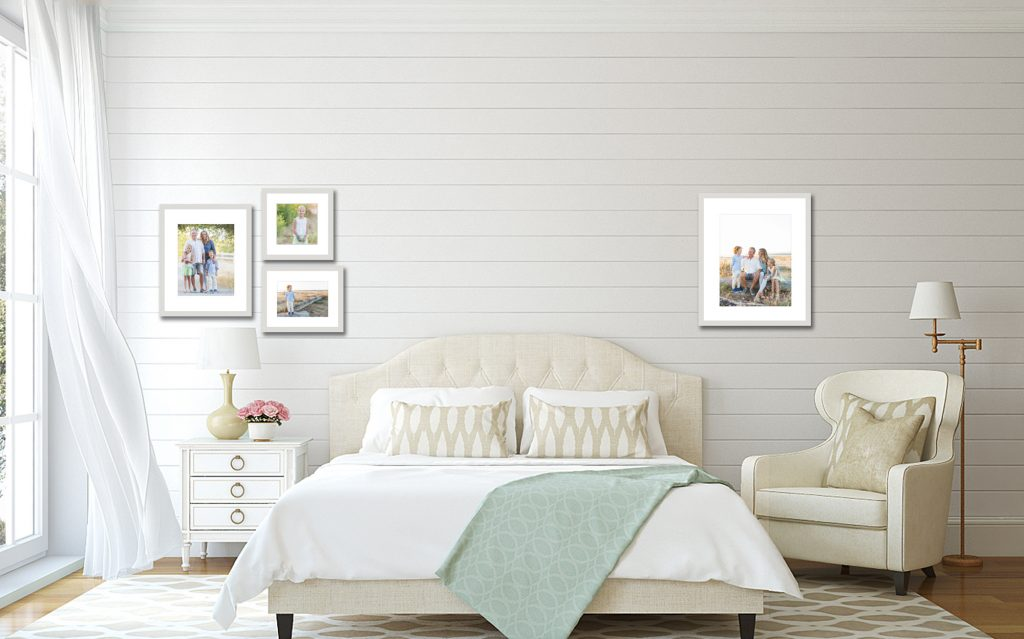 Jenn Di Spirito Photography session pricing | sample wall gallery in bedroom with 4  frames